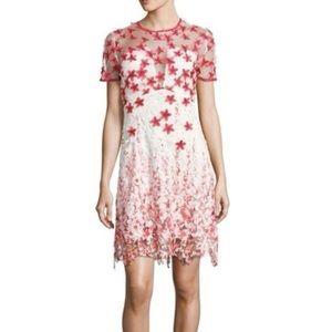 NWT Tahari Mindy Applique Floral Redstone Dress
